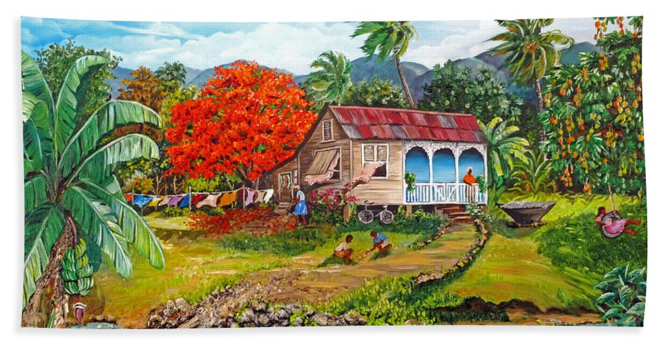 Tropical Scene Caribbean Scene Bath Sheet featuring the painting The Sweet Life by Karin Dawn Kelshall- Best