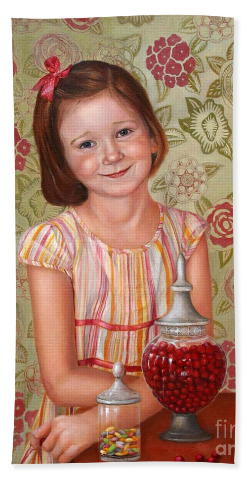 Children Portrait Hand Towel featuring the painting The Sweet Sneak by Portraits By NC