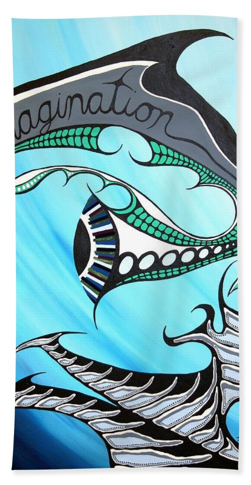 Abstract Bath Sheet featuring the painting The Swimmer by Angela Hansen