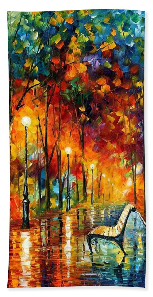 Afremov Bath Sheet featuring the painting The Symphony Of Light by Leonid Afremov