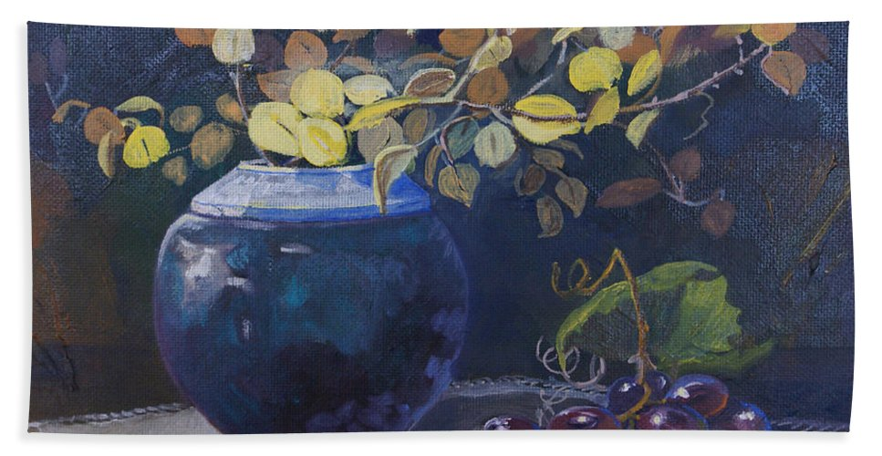 Still Life Hand Towel featuring the painting The Teal Vase by Heather Coen