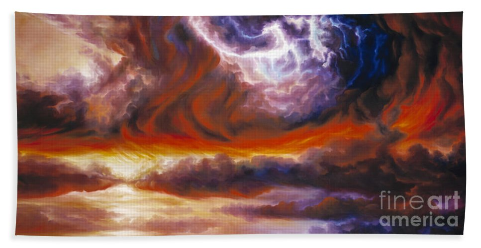 Tempest Hand Towel featuring the painting The Tempest by James Christopher Hill