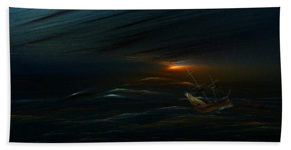 Digital Painting Hand Towel featuring the digital art The Tempest Revisited by David Lane
