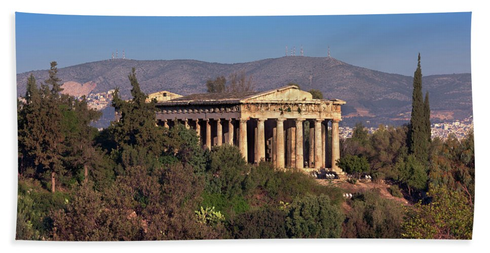 Agora Hand Towel featuring the photograph The Temple Of Hephaestus In The Morning, Athens, Greece by Andrey Omelyanchuk