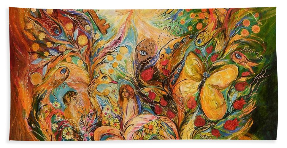 Original Hand Towel featuring the painting The Temptation Of Adam by Elena Kotliarker