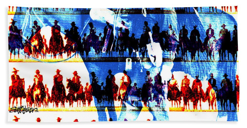 Cowboys Bath Sheet featuring the digital art The Tenderfoot by Seth Weaver