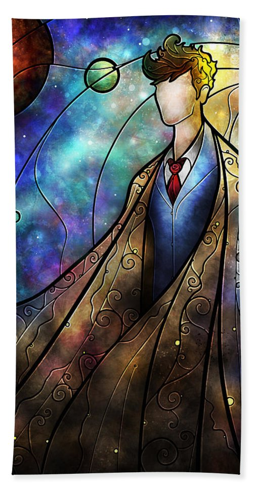 The Doctor Bath Sheet featuring the digital art The Tenth by Mandie Manzano