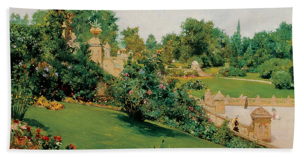 The Terrace Central Park New York Bath Sheet featuring the photograph The Terrace Central Park New York by William Merritt Chase