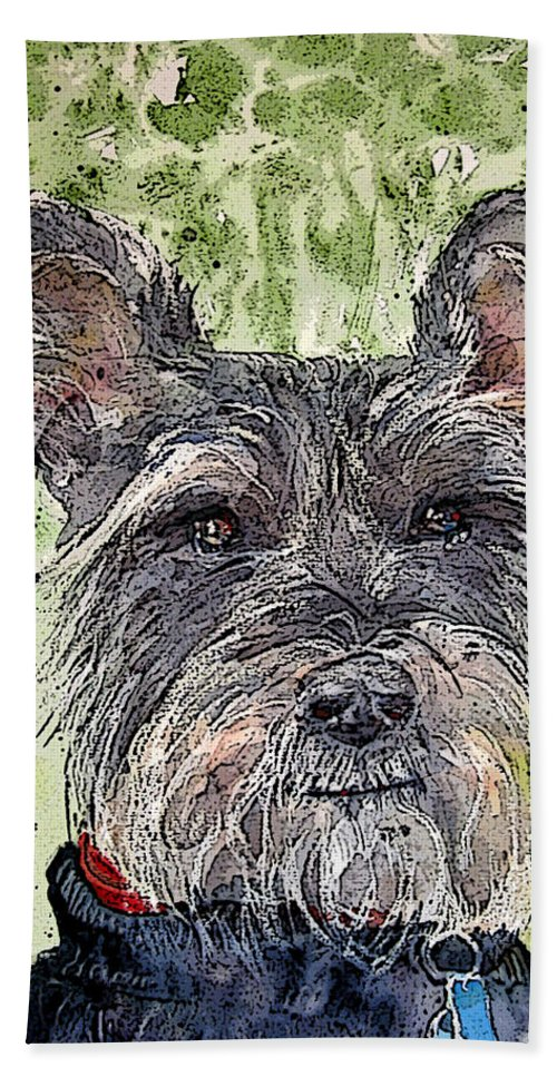 Terrier Bath Sheet featuring the painting The Terrier by Shirley Sykes Bracken