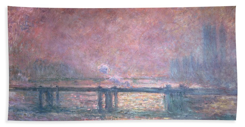 Monet Hand Towel featuring the painting The Thames At Charing Cross by Claude Monet