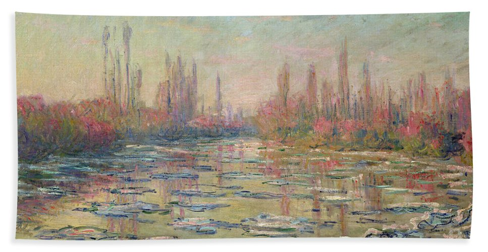 The Thaw On The Seine Hand Towel featuring the painting The Thaw On The Seine by Claude Monet