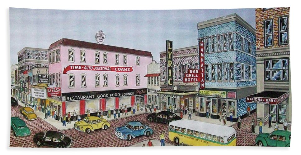 Looking The Other Way From Above The Esplanade Laroy Columbia Lyric Bus Cars Hotel Royal Bath Sheet featuring the painting The Theater District Portsmouth Ohio 1948 by Frank Hunter
