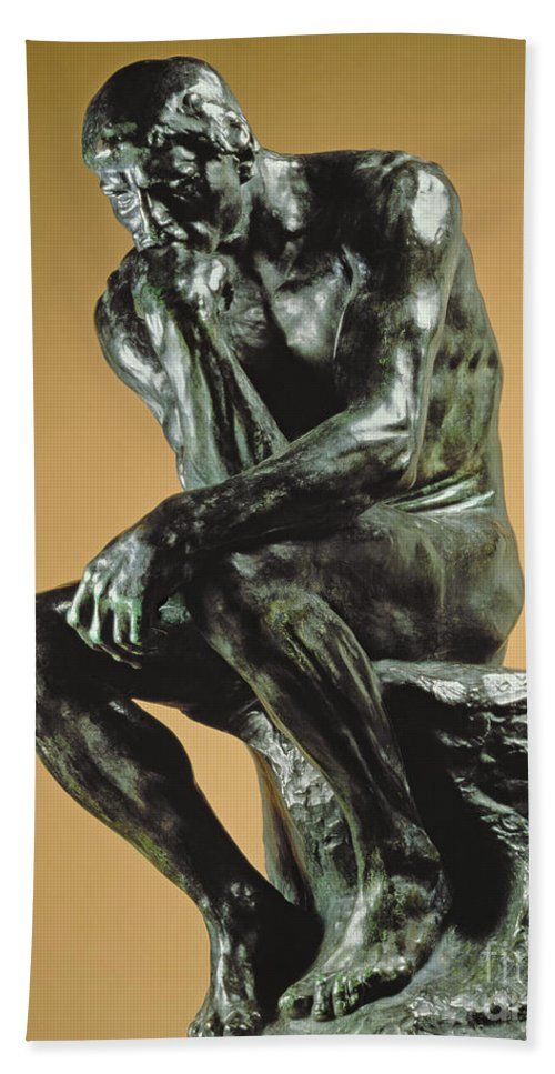 The Thinker Hand Towel featuring the photograph The Thinker by Auguste Rodin