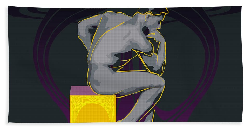 The Thinker Hand Towel featuring the digital art The Thinker - El Pensador by Quim Abella