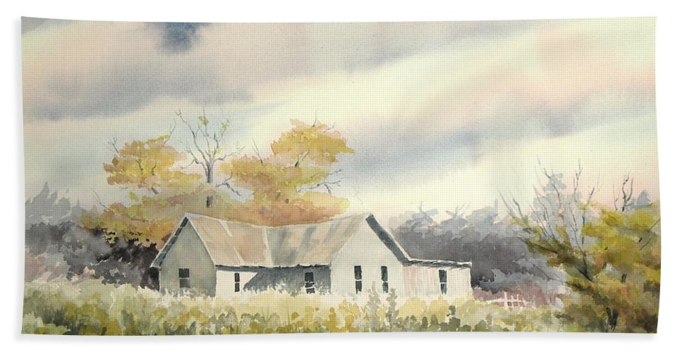 Farm Hand Towel featuring the painting The Thompson Place by Sam Sidders