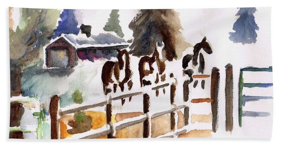 Horses Bath Towel featuring the painting The Three Amigos by Frances Marino