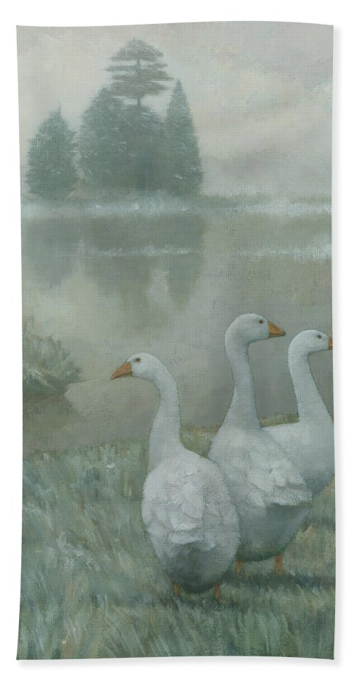 Country Hand Towel featuring the painting The Three Geese by Steve Mitchell