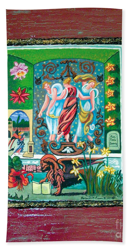 Women Bath Sheet featuring the painting The Three Sisters by Genevieve Esson