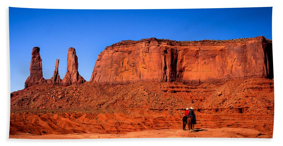 Monument Valley Bath Sheet featuring the photograph The Three Sisters by Robert Bales