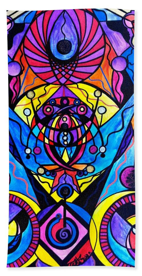 Vibration Bath Towel featuring the painting The Time Wielder by Teal Eye Print Store