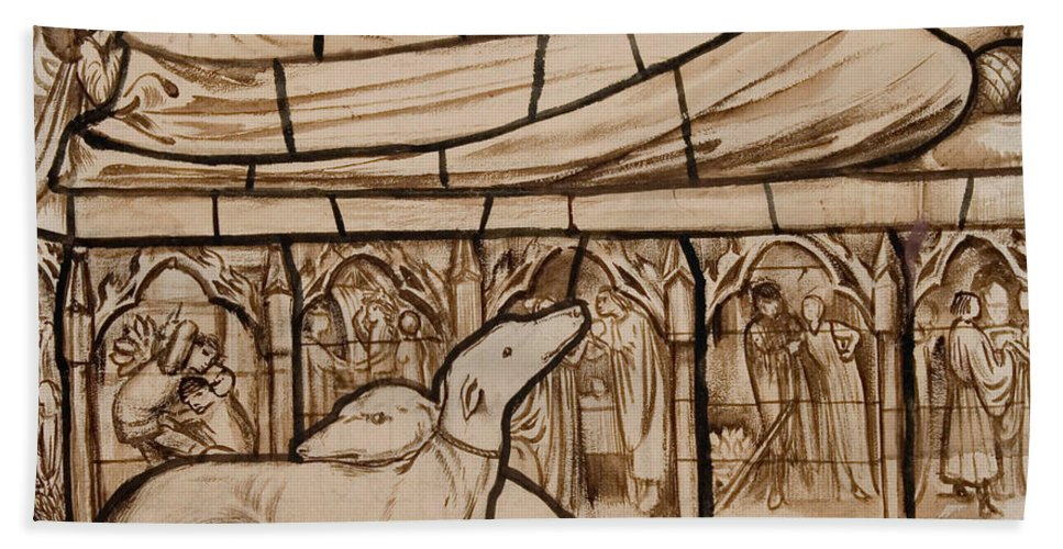 Burne-jones Hand Towel featuring the drawing The Tomb Of Tristram And Iseult by Edward Burne-Jones