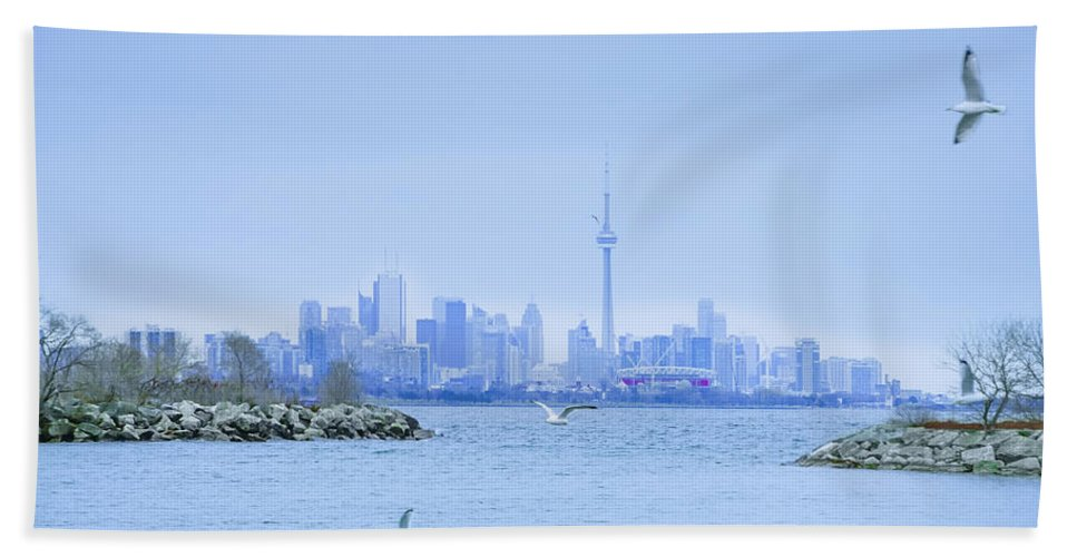 The Hand Towel featuring the photograph The Toronto Skyline by Bill Cannon