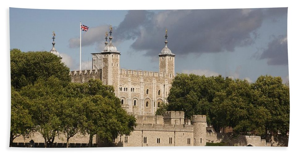 Towers Hand Towel featuring the photograph The Tower Of London. by Christopher Rowlands