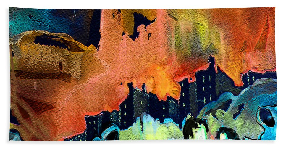 Acrylics Hand Towel featuring the painting The Towers Of London by Miki De Goodaboom