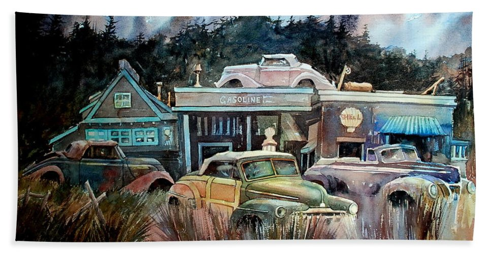 Stores Cars Trees Hand Towel featuring the painting The Trading Post by Ron Morrison