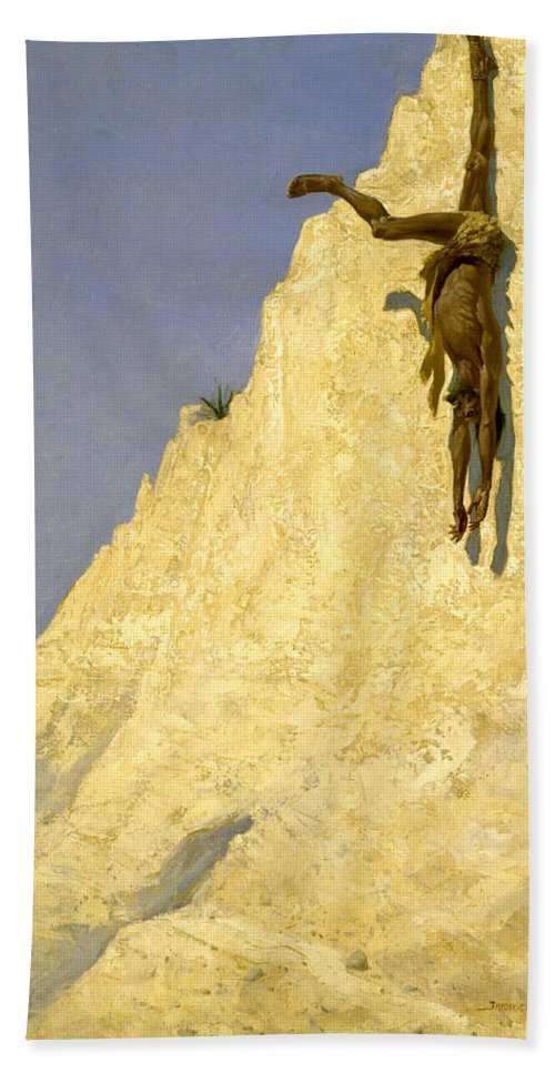 Cliff Bath Sheet featuring the painting The Transgressor by Frederic Sackrider Remington