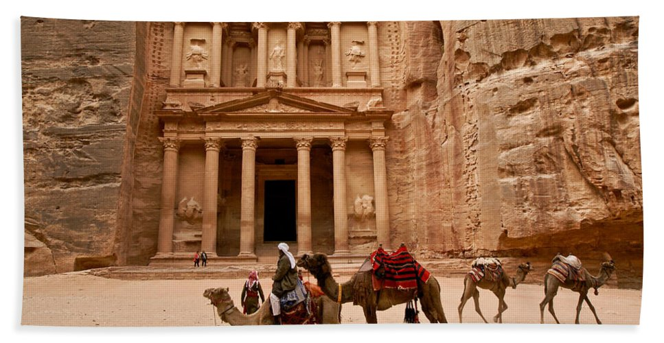Middle East Hand Towel featuring the photograph The Treasury Of Petra by Michele Burgess