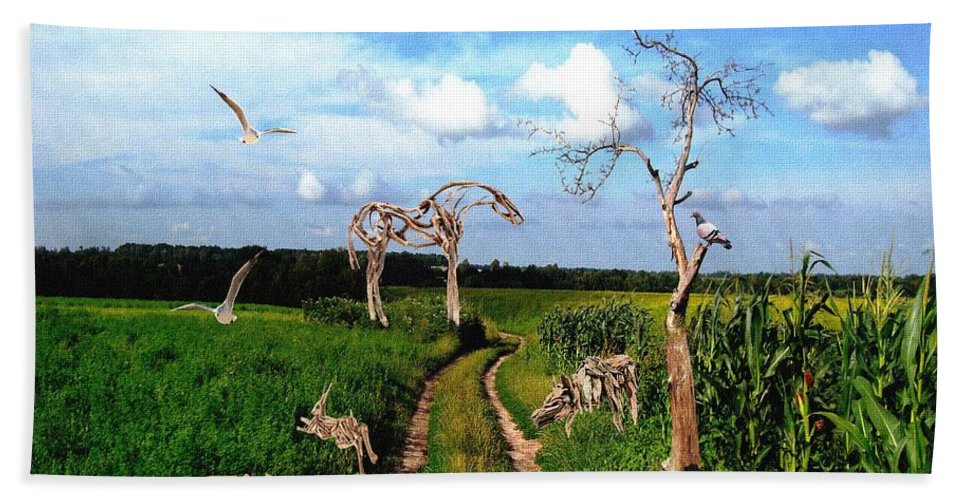 Modern Painting Hand Towel featuring the mixed media The Tree Gave Its Branches 2 by Pemaro