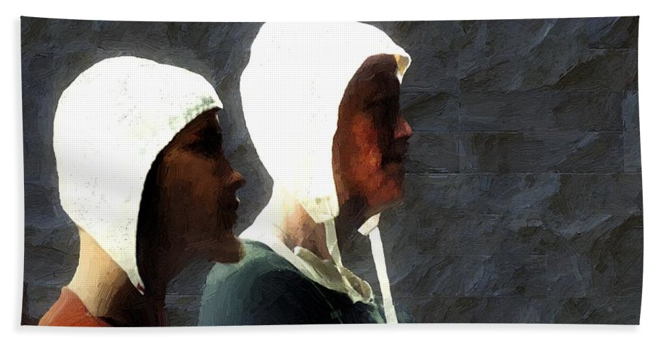 Men Bath Sheet featuring the painting The Trial Of The Heretics by RC DeWinter