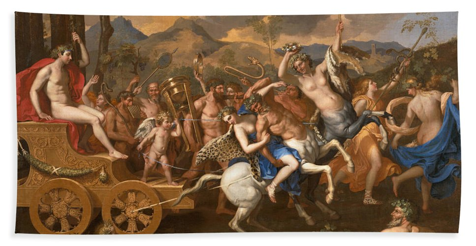 Nicolas Poussin Bath Sheet featuring the painting The Triumph Of Bacchus by Nicolas Poussin
