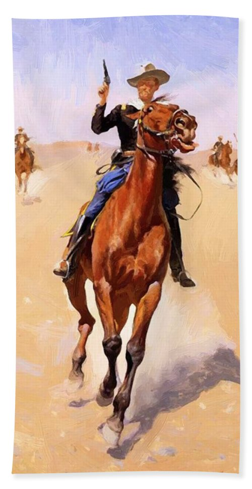 The Hand Towel featuring the painting The Trooper 1892 by Remington Frederic