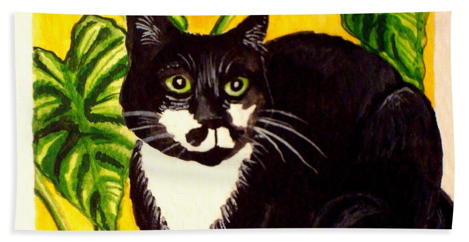 Watercolor Hand Towel featuring the painting The Tropical Cat by Elizabeth Robinette Tyndall