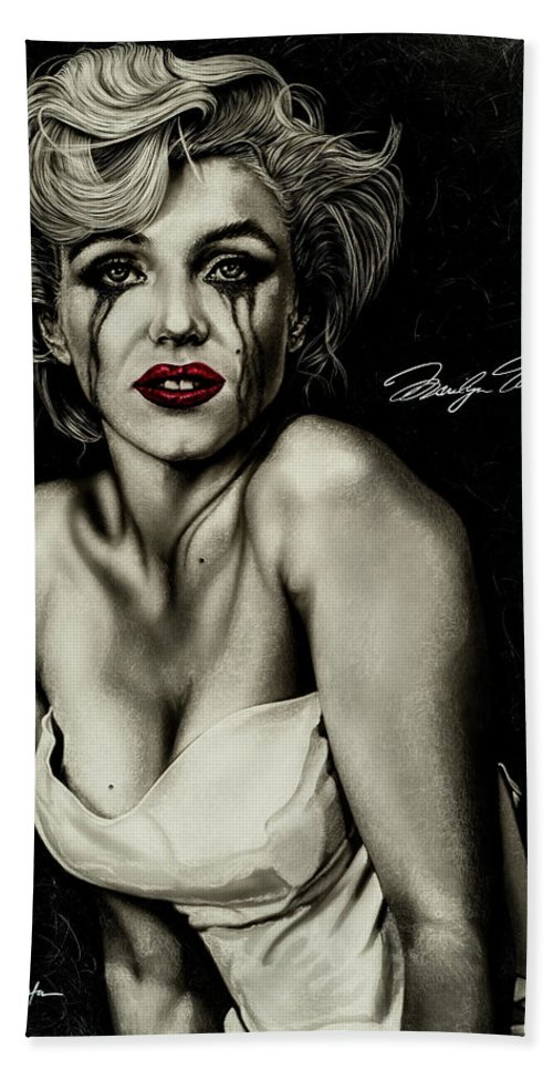 Marilyn Monroe Hand Towel featuring the painting The True Marilyn by Dan Menta