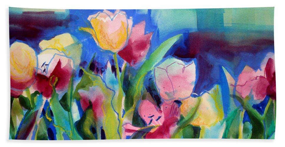 Paintings Hand Towel featuring the painting The Tulips Bed Rock by Kathy Braud