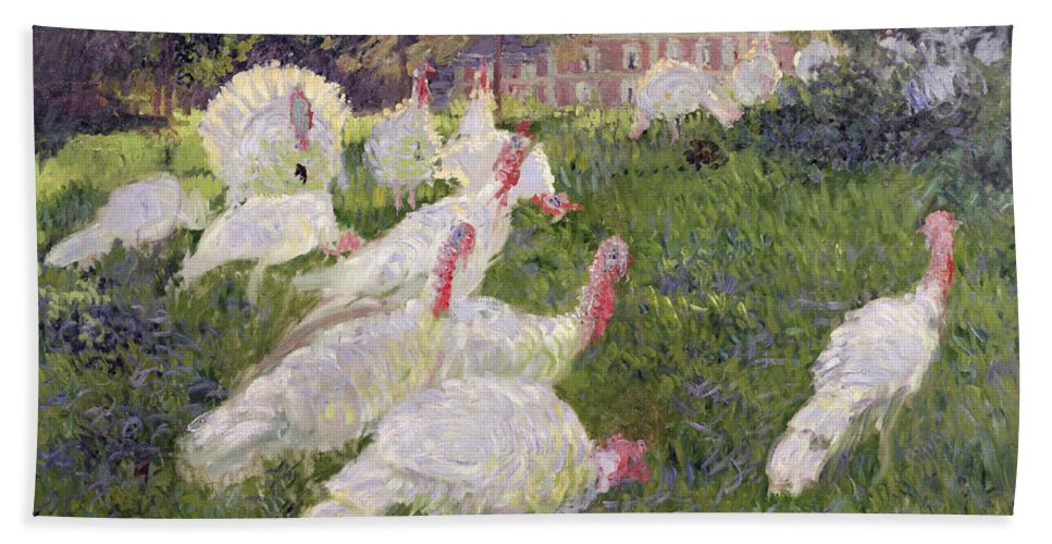 The Turkeys At The Chateau De Rottembourg Bath Sheet featuring the painting The Turkeys At The Chateau De Rottembourg by Claude Monet