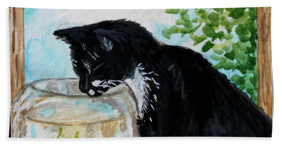 Cats Bath Sheet featuring the painting The Tuxedo Cat And The Fish Bowl by Elizabeth Robinette Tyndall