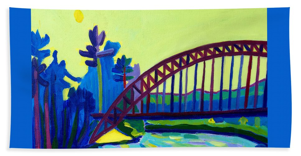 Water Hand Towel featuring the painting The Tyngsborough Bridge by Debra Bretton Robinson