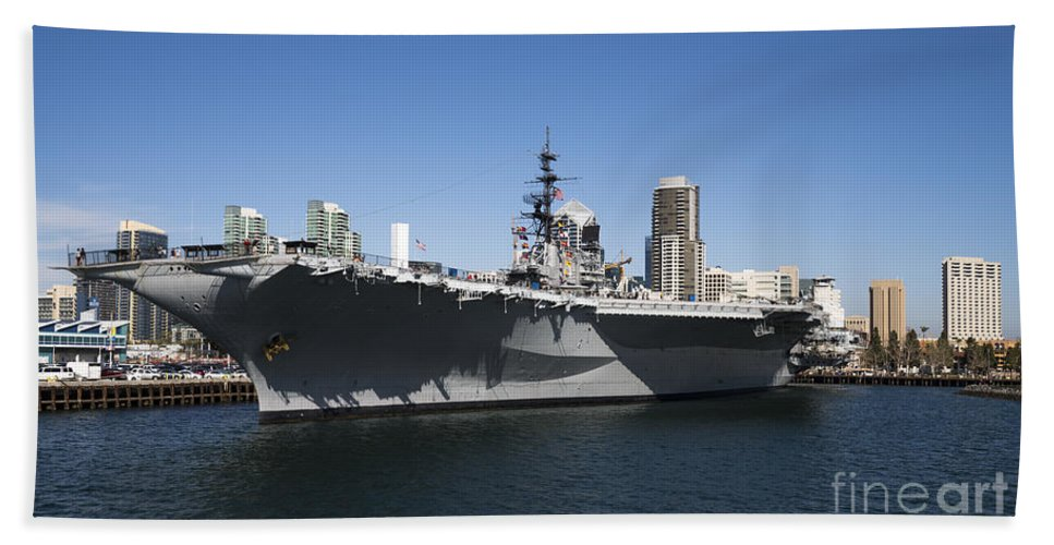 Uss Midway Hand Towel featuring the photograph The U S S Midway Docked In San Diego by Kenneth Lempert