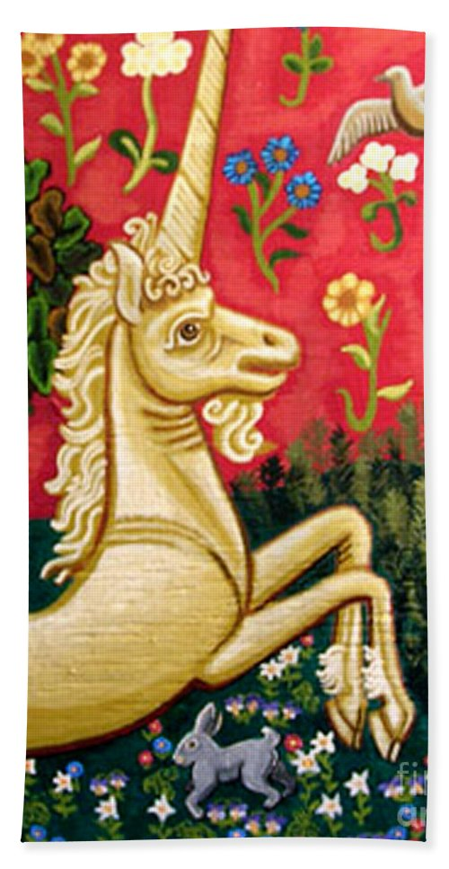 Unicorn Bath Sheet featuring the painting The Unicorn by Genevieve Esson