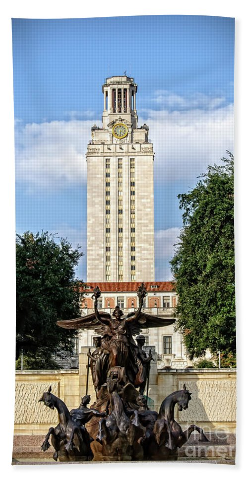 Academics Hand Towel featuring the photograph The University Of Texas Tower by Charles Dobbs