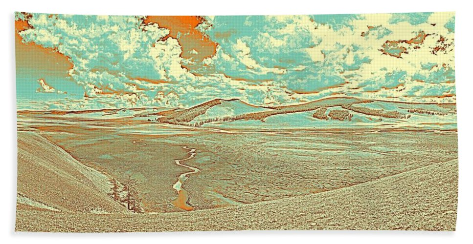 Nature Bath Sheet featuring the painting The Valley Of Winding Snake River by Celestial Images