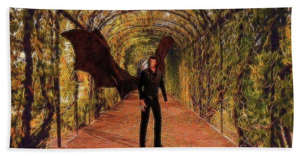 Demon Hand Towel featuring the digital art The Vampire In The Garden by Raphael Terra