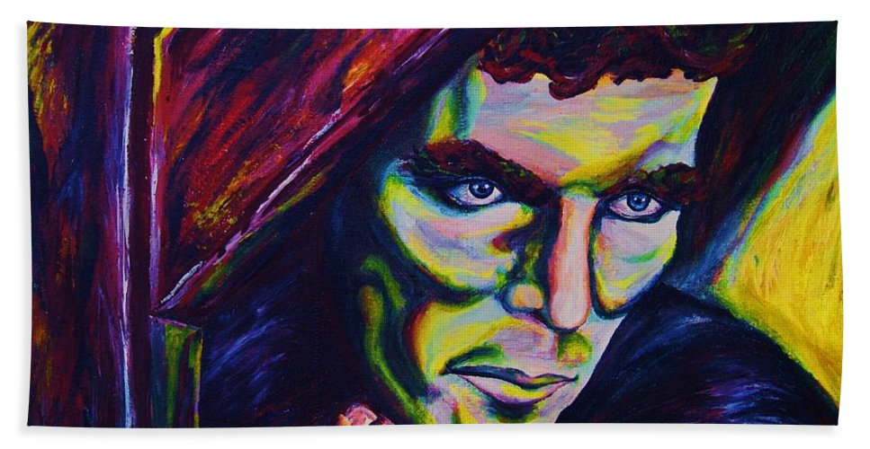 Portraits Bath Sheet featuring the painting The Vampire Lestat by Carole Spandau