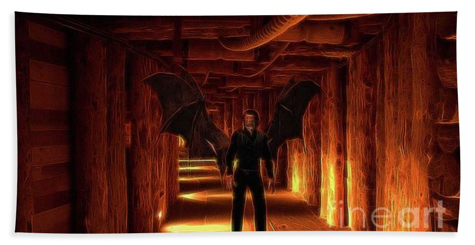 Demon Hand Towel featuring the digital art The Vampire Tunnel by Raphael Terra