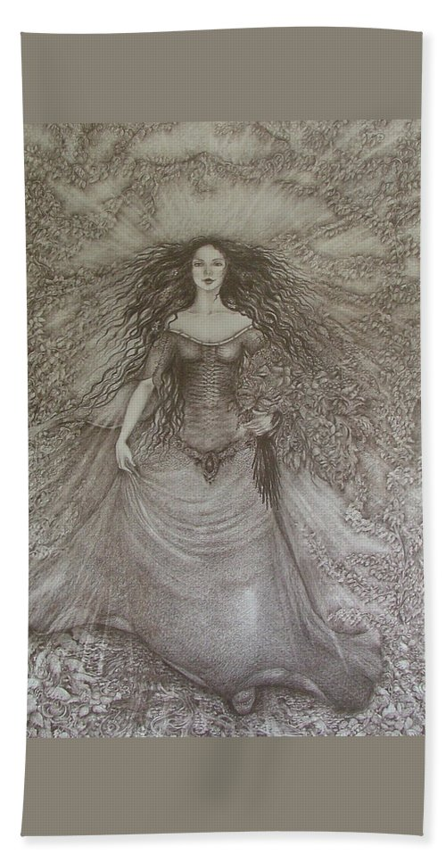 Spring Bath Sheet featuring the drawing Victory Of Spring by Rita Fetisov