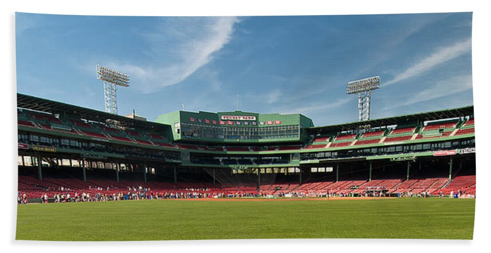 boston Red Sox Bath Sheet featuring the The View From Center by Paul Mangold